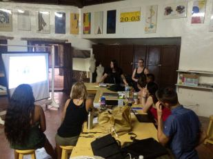 Discussing prototypes at Altos de Chavón